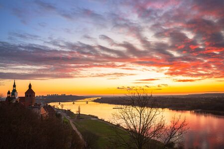 Amazing sunset over Grudziadz city and the Vistula River, Poland.