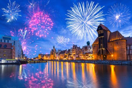 Fireworks display over the old town in Gdansk, Poland
