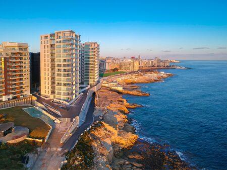 Beautiful aerial scenery of the rocky coast in Sliema, Malta Stock Photo