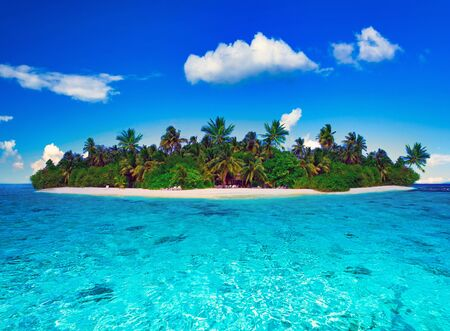 Tropical island of Maldives on the Indian Ocean