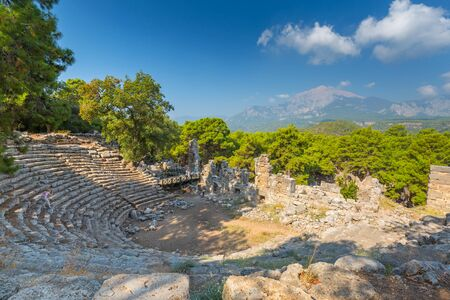 Theater ruins in the ancient city of Phaselis, Antalya province. Turkey Standard-Bild