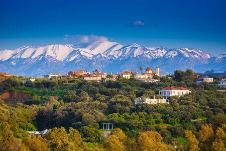 Greek village on Crete with the White Mountains, Greece