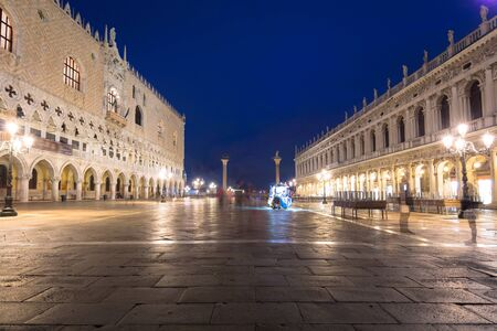 Amazing architecture of the Doges Palace on the San Marco square of Venice, Italy