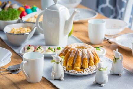 Table with traditional food for Easter breakfast Stockfoto