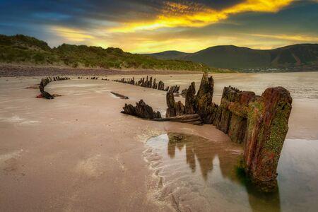 The Sunbeam ship wreck on the Rossbeigh beach at sunset, Ireland