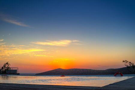 Beautiful sunrise over the Mirabello Bay on Crete, Greece