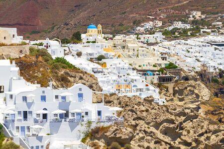 White architecture of Oia town on Santorini island, Greece