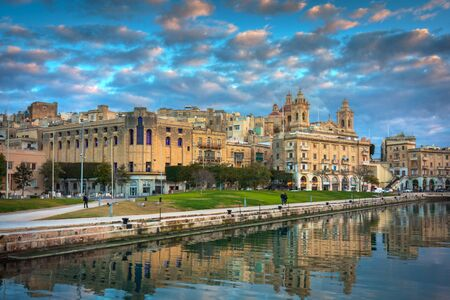 Beautiful architecture of the Birgu town at sunset, Malta Zdjęcie Seryjne