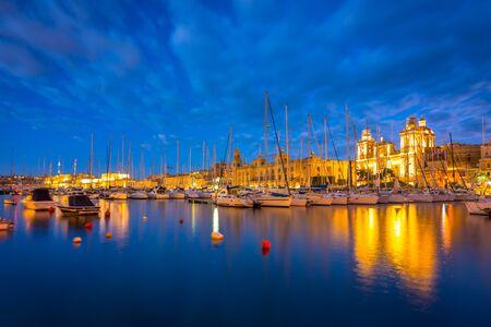 Beautiful marina of Birgu town on Malta at dusk