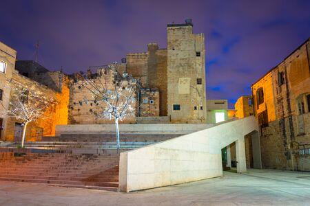 Beautiful architecture of the Birgu old town at dusk, Malta