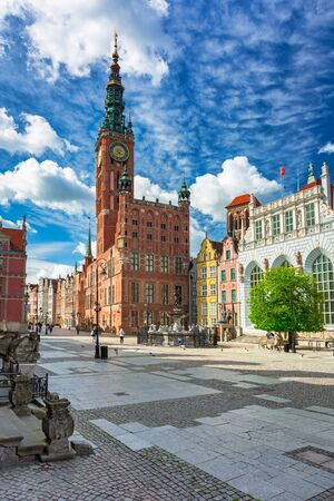 Beautiful architecture of the old town in Gdansk with city hall, Poland Archivio Fotografico