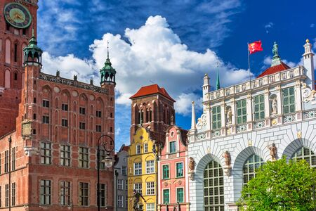 Beautiful architecture of the old town in Gdansk with city hall and Artus court, Poland