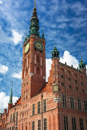 Beautiful architecture of the city hall in Gdansk, Poland