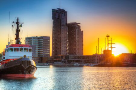 Gdynia by the Baltic Sea at sunset. Poland Archivio Fotografico