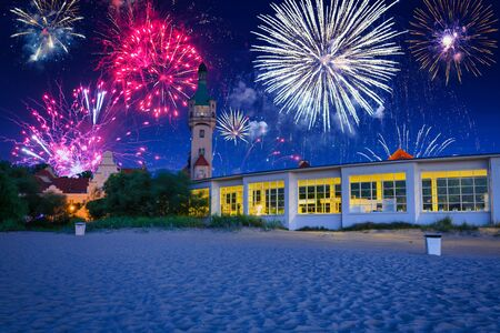 Fireworks display in Sopot at the Molo - pier on Baltic Sea, Poland