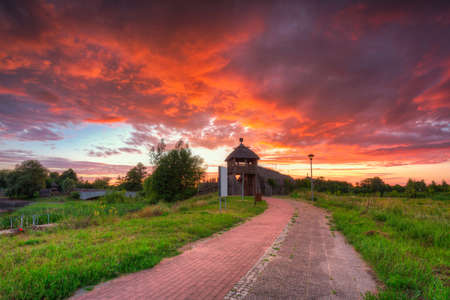 Beautiful sunset over the settlement of Trade Factory in Pruszcz Gdanski, Poland. Archivio Fotografico