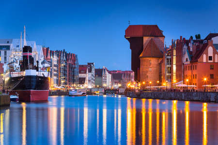 The old town of Gdansk with amazing architecture at dusk, Poland Banco de Imagens