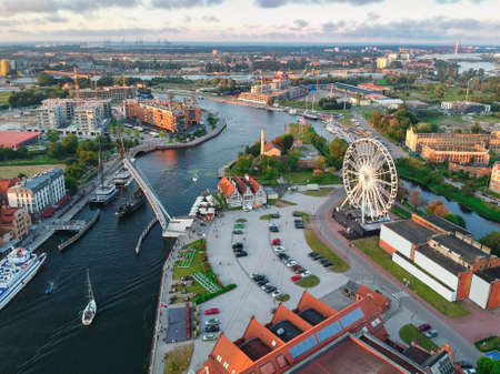 Aerial view of the old town in Gdansk with amazing architecture at sunset, Poland Stock Photo