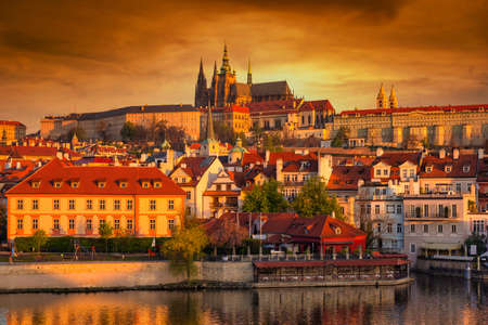 Beautiful old town and the castle in Prague at sunrise, Czech Republic