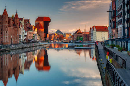 Gdansk with beautiful old town over Motlawa river at sunrise, Poland. Banco de Imagens