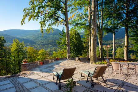 Beautiful summer scenery of the terrace at the Karkonosze Mountains, Poland Stok Fotoğraf