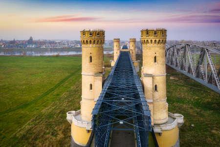 Aerial landscape of the Vistula river and railway bridge in Tczew, Poland