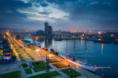 Amazing scenery of Kosciuszko Square in Gdynia by the Baltic Sea at dusk. Poland