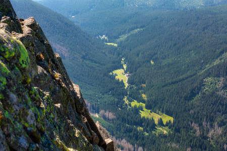 Mountain scenery of the Karkonosze Mountains from the top of Sniezka peak, Poland