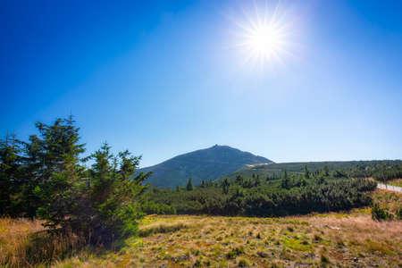 Beutiful landscape of the Karkonosze Mountains and Sniezka peak, Poland