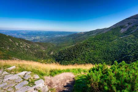 Mountain trail to the Sniezka peak in Karkonosze Mountains, Poland