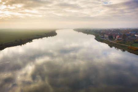 Aerial landscape of the Vistula river near Tczew, Poland
