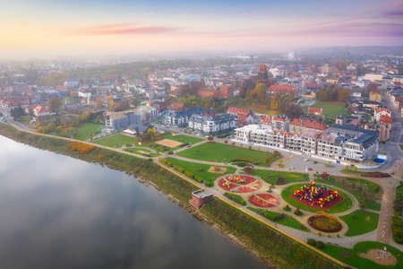 Aerial landscape of misty Tczew city and the Vistula river, Poland. Stok Fotoğraf