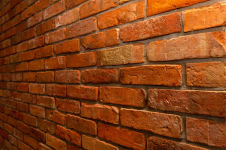 Red brick wall decoration with perspective view