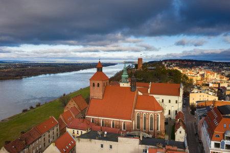 Grudziadz city with amazing granaries over the Vistula River. Poland