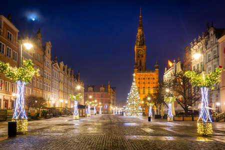 Christmas tree and decorations in the old town of Gdansk at dawn, Poland