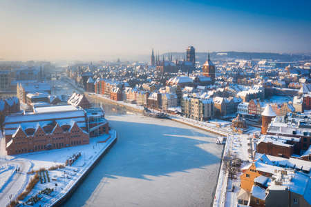 Beautiful scenery of Gdansk over Motlawa river at snowy winter, Poland Stock Photo