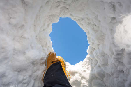 Relax in the snow igloo at sunny day. Poland