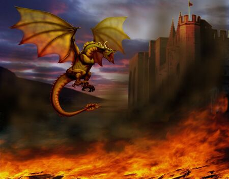 destruction: fire-breathing dragon flying around the castle