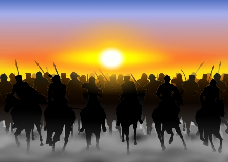 military invasion: The cavalry rides in the fog, and dust on the background of the rising sun