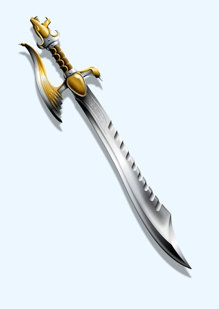 The picture shows a sword, Made in the form of a dragon photo