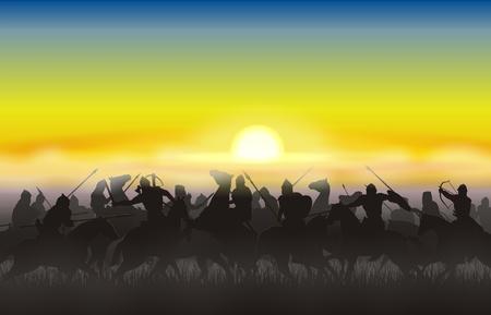Riders allaient à la bataille contre le soleil levant