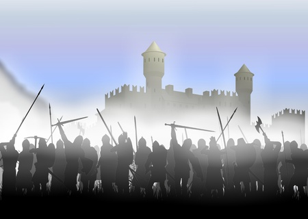 crusades: foot soldiers standing in the fog on the background of the fortress Stock Photo