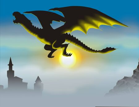 winged: silhouette of a dragon can be seen against the backdrop of the rising sun