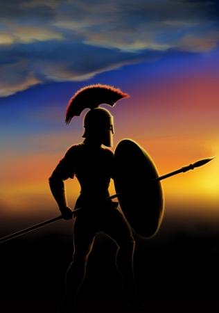 infantryman: ancient warrior lit glow of sunrise