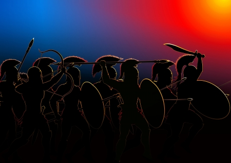 detachment: detachment of ancient warriors attacked the enemy in the dark glow in the background Stock Photo