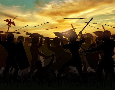 soldier silhouette: silhouettes fighting warriors are seen against the background of the rising sun Stock Photo