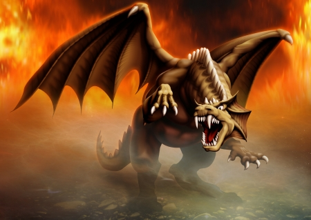 terrible dragon has large claws and fangs ready to attack and goes by the fire Фото со стока