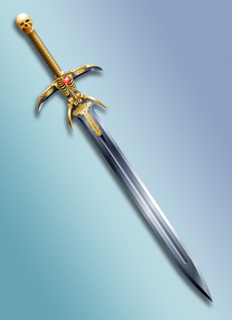 fantasy sword: sword covered with runes and gold hilt in the form of a skull