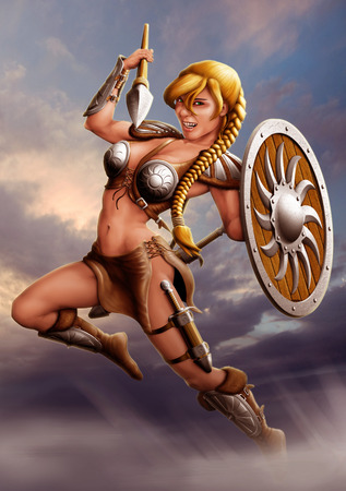 warrior girl: warrior girl jumps out of the fog and attack the enemies
