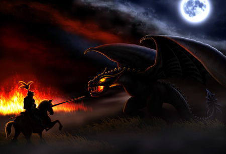 the moon and the fire lit uthe night and a knight ready to battle with the dragon